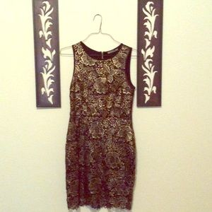 Dresses & Skirts - Boutique black and gold lace dress